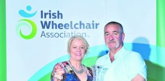 John Conroy, Lucan, Dublin accepts the 'Service Volunteer of the Year award' from Rosemary Keogh, CEO, IWA at the Irish Wheelchair Association annual conference in The INEC, Killarney at the weekend.
