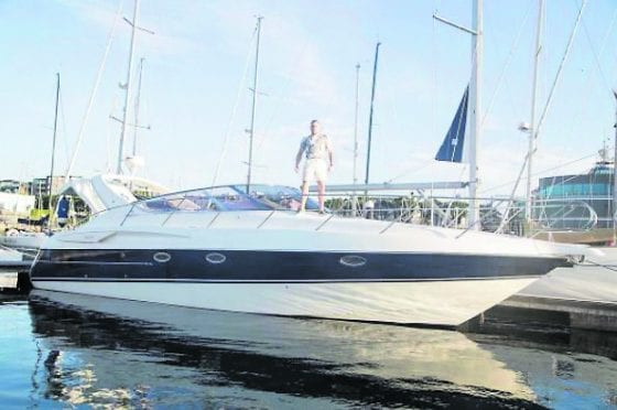 Conor McGregor pictured on his yacht - the 188 - in Dun Laoghaire Harbour
