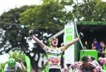 Przemek Kasperkiewicz of An Post Chain Reaction celebrates winning stage eight.