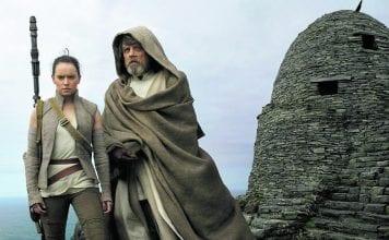 Rey (Daisy Ridley) and Luke Skywalker (Mark Hamill) in a scene from Star Wars: The Last Jedi