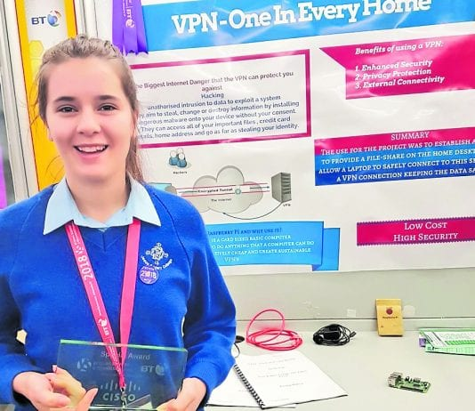 Emma Bobos won the Cisco Data Privacy award at the BT Young Scientist Exhibition