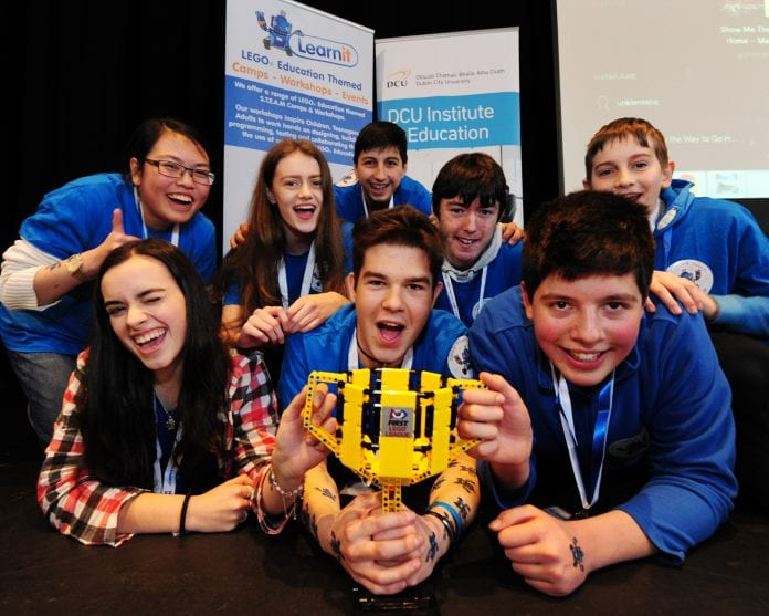 The winning team from Leinster's FLL finals with their robot.