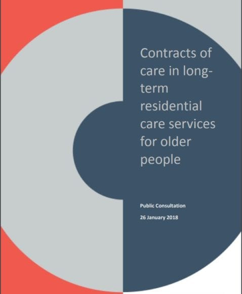 The cover of the contract of care consultation form.