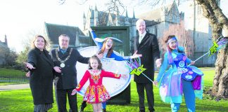 Ardmheara Micheal Mac Donncha and friends help launch St Patrick's Festival, which this year has the theme of 'Home'. Picture: Robbie Reynolds