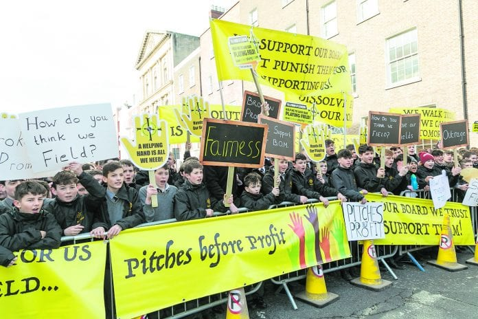 Clonkeen College students protest outside the Dail