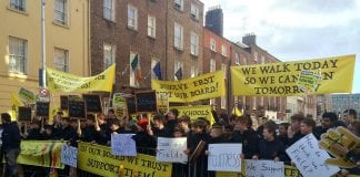 Clonkeen College students protesting outside Leinster House today