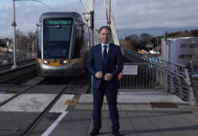 Cllr Shay Brennan at the Dundrum Luas stop. He says Luas users are at breaking point