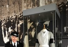 Mrs Martha Oman is the longest serving female member of St John Ambulance in Ireland, with over 68 years of service. She made the pinstriped nursing officer's uniform on display as part of the Doing their bit: Irish Women and the First World War exhibit, which is a replica of the uniform worn by Kate Middleton Curtis.