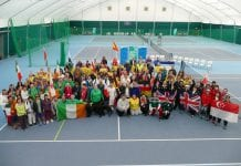 Participants from around the globe pictured with officials and volunteers at the Blind Tennis World Championships which recently took place in Shankill Tennis Club