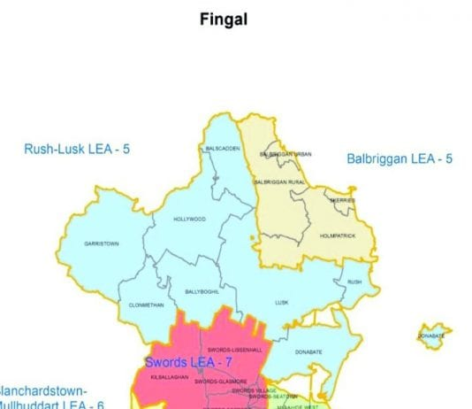 The 40 Fingal County Council seats have been re-allocated across seven LEA's instead of five