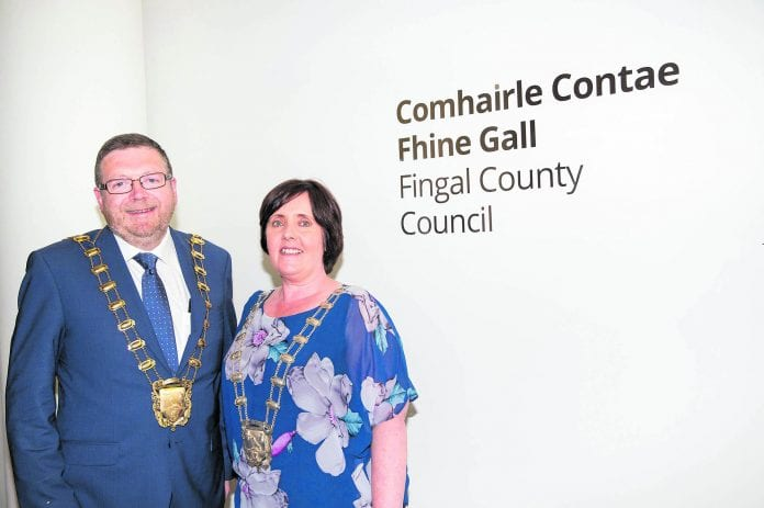 Fingal's new Mayor Anthony Lavin and Deputy Mayor Grainne Maguire