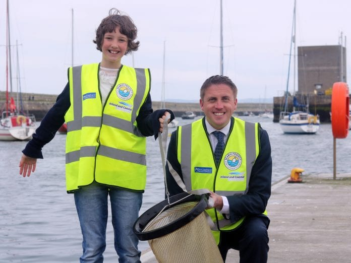Flossie Donnelly with Cormac Devlin at the launch of Ireland's first seabin at Dún Laoghaire Harbour