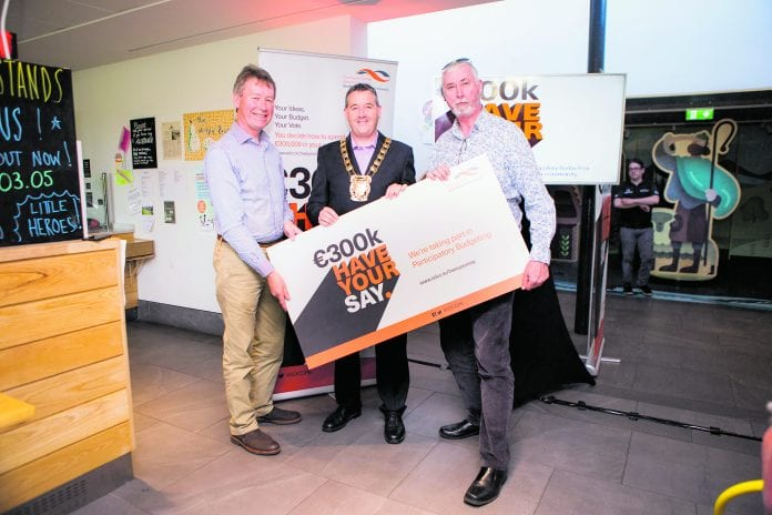 John Curran TD, Mayor Paul Gogarty and Thyes Kavanagh at the announcement of the winning projects for the €300k Have Your Say initiative