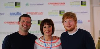 Minister Josepha Madigan with Ed Sheeran and Dermot O'Leary