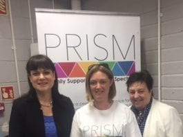 L-R: Cllr Deirdre Donnelly, Jen Kane Mason, Chairperson of PRISM and Geraldine Graydon, AsFan