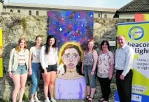 Promoting positive mental health: Artists from Skerries Community College with an artworks and teacher, Claire Loughran; the Deputy Mayor of Fingal, Grainne Maguire; and Skerries Youth Support Services chairperson, JP Browne