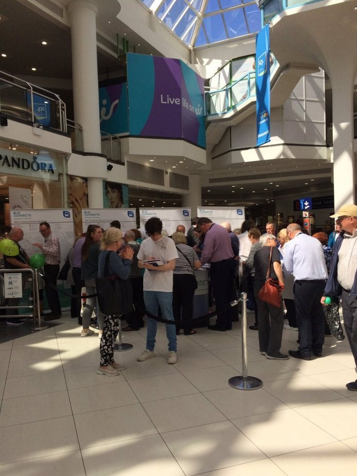 Locals attending the BusConnects information session in The Square, Tallaght