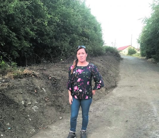 Cllr Liona O'Toole at the newly cleaned embankment between Moy Glas and Castle Riada