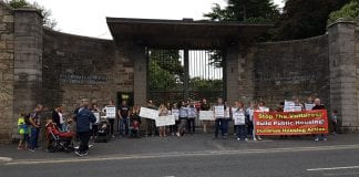 Protesters outside the Central Mental Hospital