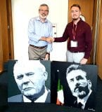 Signing with Gerry Adams