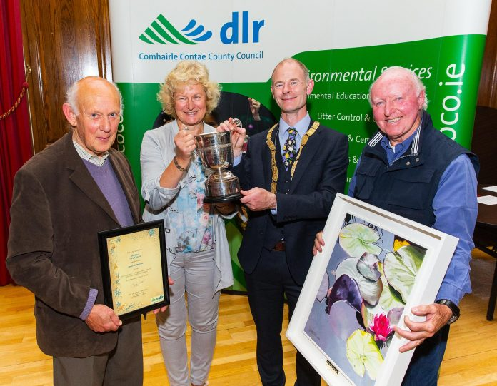 At the presentation of the Tidy Districts Awards 2018 were, left to right, Overall winners Terry Wheatley, Bláithín O'Brien and Desmond Burke-Kennedy of Dalkey Tidy Towns with Councillor Ossian Smyth, Cathaoirleach of Dún Laoghaire-Rathdown County Council. Photo: Peter Cavanagh Photography
