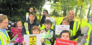 Donabate and Portrane locals protest to safeguard school children's journey to school.