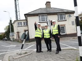 Minister Ross, Minister Moran and Cllr Kevin Daly outside Stepaside Garda Station