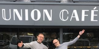 New General Manager of Union Café Churchtown Stjepan Babic and General Manager of Union Café Mount Merrion David Payne Mullins outside new Churchtown restaurant