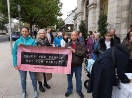 Protest outside the council meeting on Monday calling for protection to key Traveller sites, in attendance were Southside Travellers Action Group, people off the housing list and People Before Profit