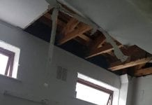 The water damage caused the partial collapse of the ceiling in one of the dressing rooms
