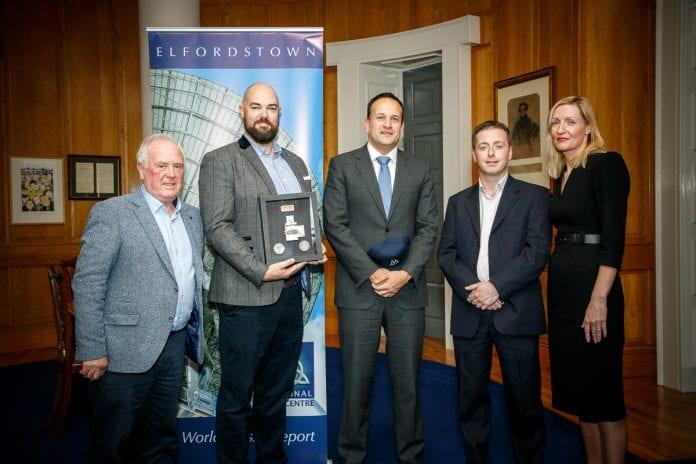 Peter Downey, Keith Tracey and Ian Kiely (Drone Consultants Ireland) with Taoiseach Leo Varadkar