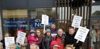 Protest last month outside the NCBI office in Dun Laoghaire calling for it to remain open