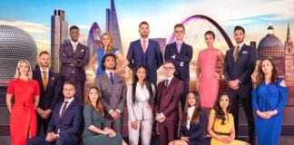 The contestants from this year's The Apprentice – Camilla is pictured wearing red on the left, and Sian is in the white suit in the centre