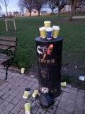 Overflowing bin in the People's Park