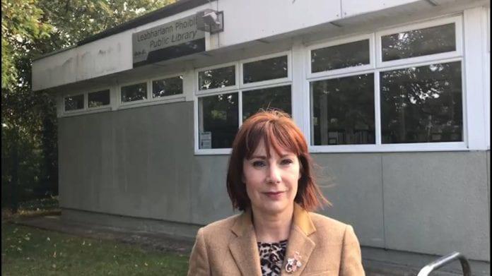 Minister Josepha Madigan at the current Stillorgan Library