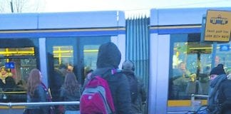 Rethink Metrolink campaigns at Windy Arbour Luas Stop