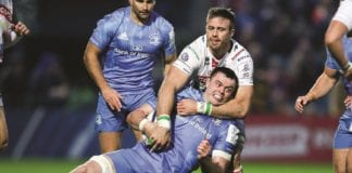 Leinster's James Ryan tackled by Benetton's Pierre Brousset. Picture: Martin Doherty