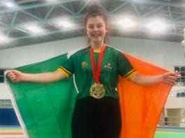 Megan Byrne rightly smiles as she shows off her Gold medal, following success at the World Drug-Free Powerlifting Championships to become the youngest ever World title winner at just 15 years of age.