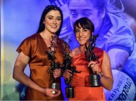 Dublin footballers and Thomas Davis club members - Olwen Carey, left, with her TG4 All Star award and Siobhan McGrath with her TG4 All Star award and TG4 Senior Player's Player of the Year award during the TG4 All-Ireland Ladies Football All Stars banquet, in association with Lidl, at Citywest Hotel in Saggart on Saturday.
