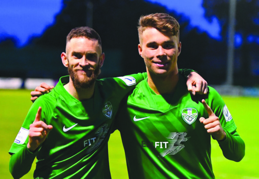 Cabinteely goalscorers Marty Waters and Vilius Labutis Pic Paul Lundy scaled