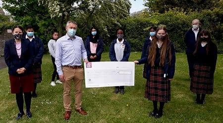 St Josephs College Parents Association cheque for memorial garden